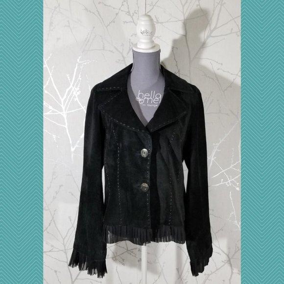 Danier Black Suede Blazer Jacket w/ Pleated Trim